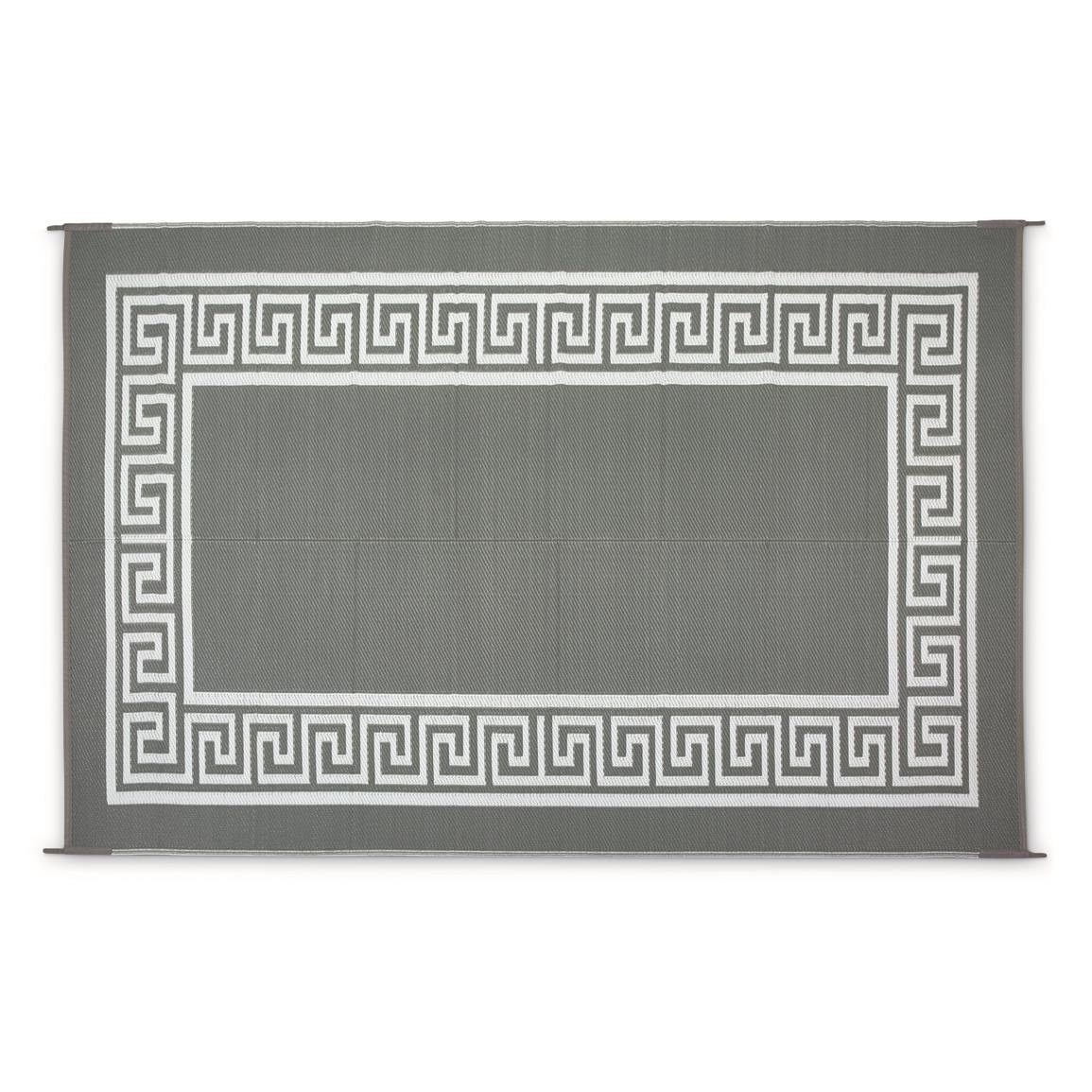 Guide Gear Outdoor Rug, Greek Key Border, Gray/White
