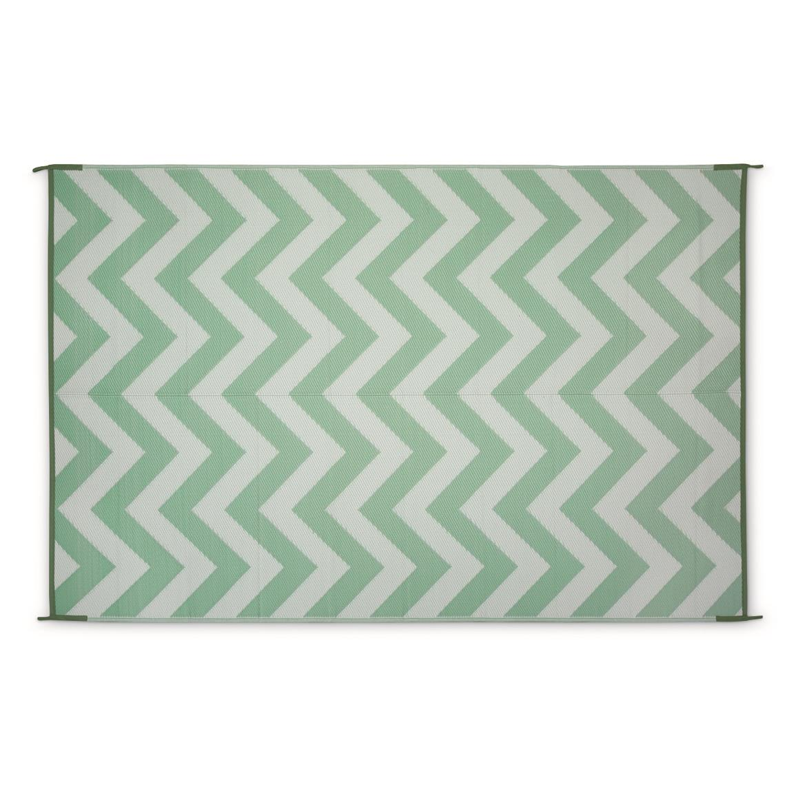 Guide Gear Chevron Outdoor Rug, Seafoam/white
