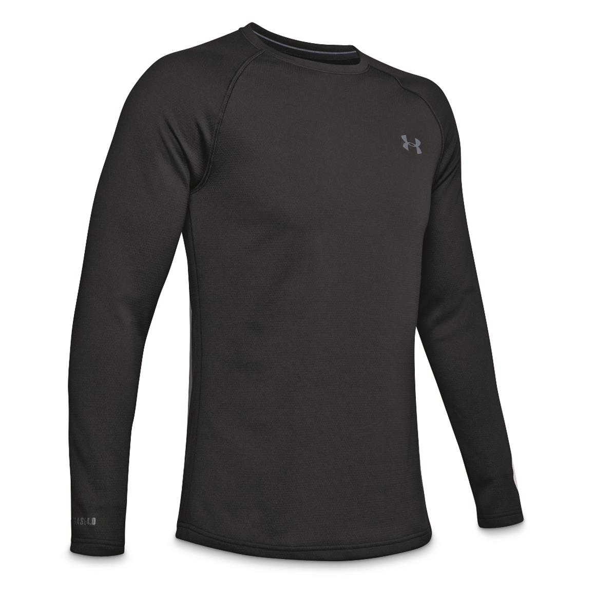 Under Armour Men's Base 4.0 Base Layer Crew Top, Black/pitch Gray