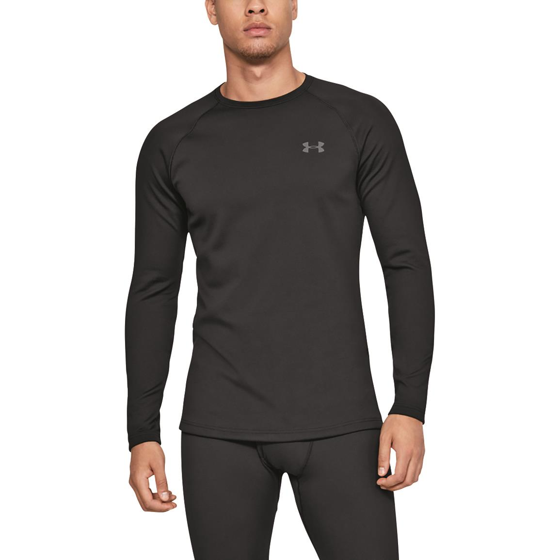 Under Armour Men's Base 3.0 Base Layer Crew Top, Black/pitch Gray