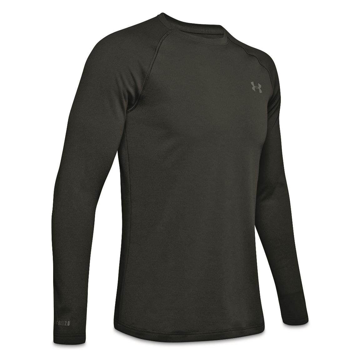 Under Armour Men's Base 2.0 Base Layer Crew Top, Black/pitch Gray