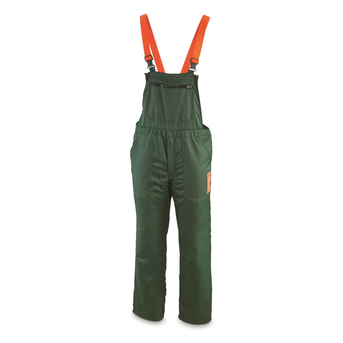German Military Surplus Kevlar Cut Resistant Bib Overalls, Used, Olive Drab