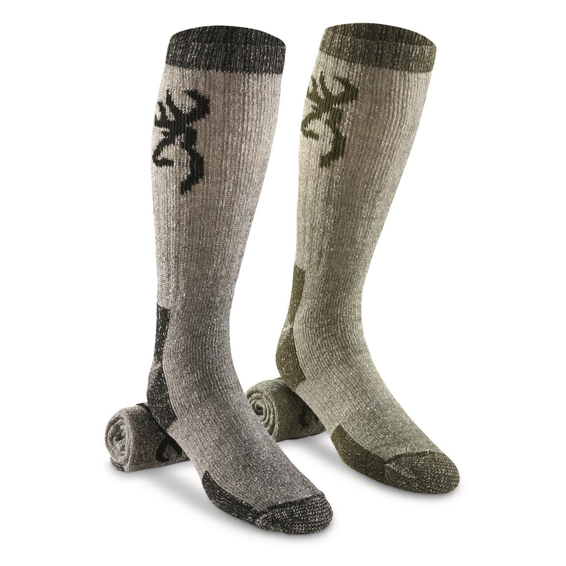 Browning Men's Poplar Wool Blend Midweight Boot Socks, 2 Pairs, Olive/Black