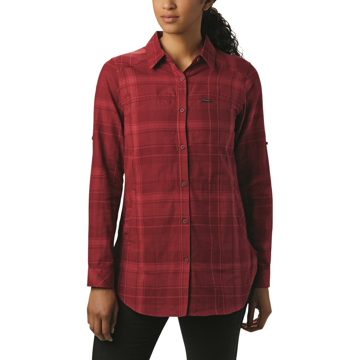 Columbia Women's Times Two Long Sleeve Tunic, Beet Plaid
