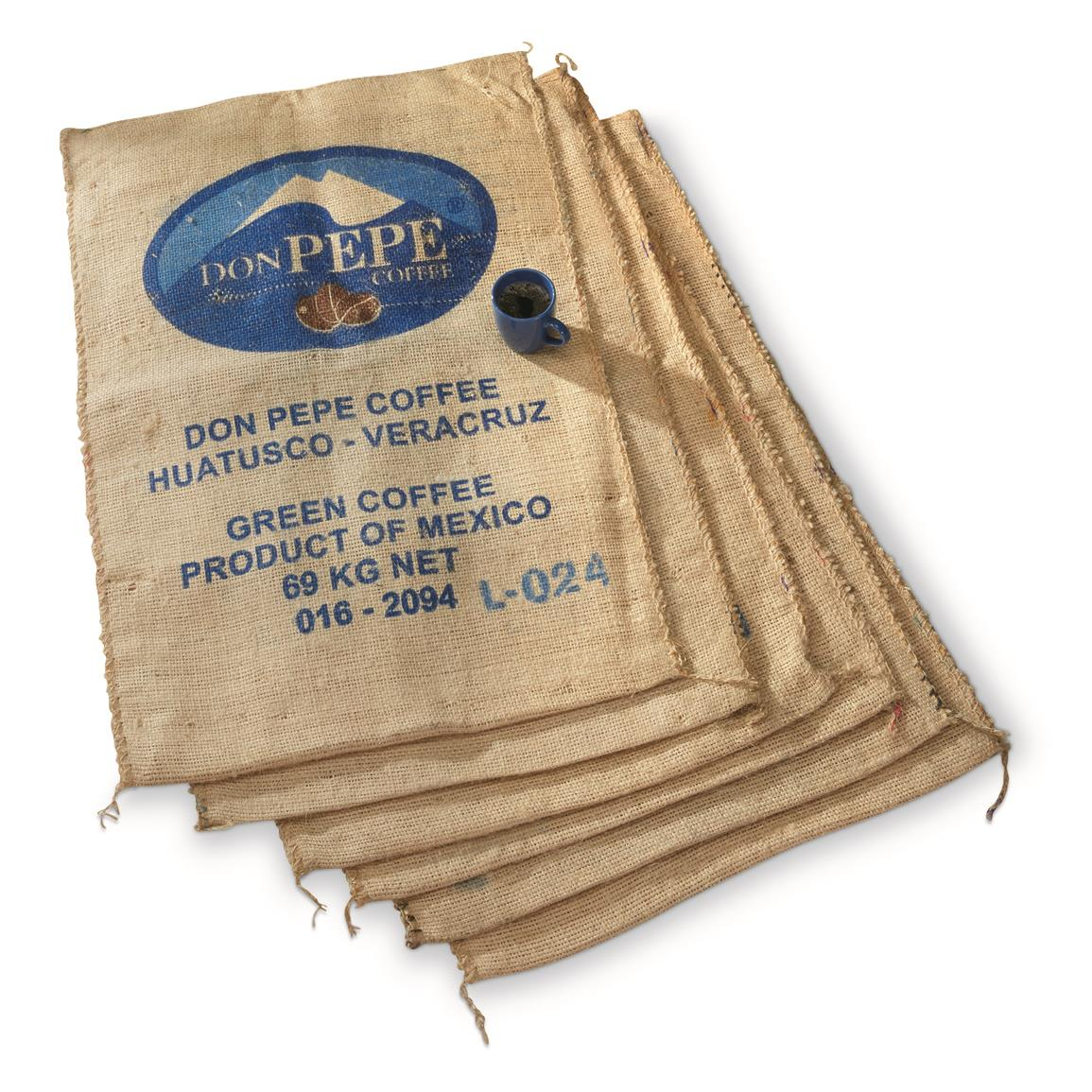 Mexican Coffee Burlap Bags, 6 Pack, New