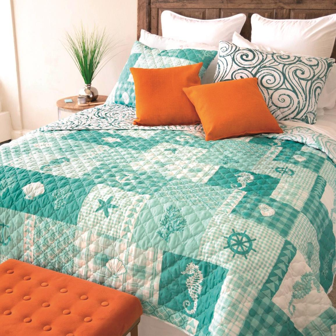 Your Lifestyle by Donna Sharp Seahorse Grid Quilt Set, 3 Piece