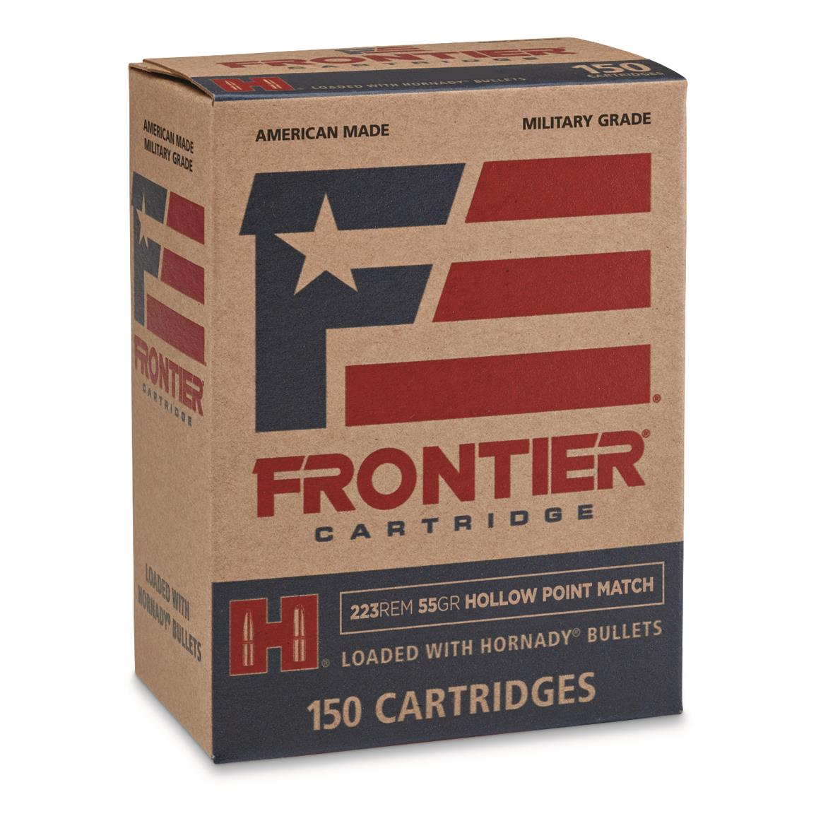 Hornady Frontier, .223 Remington, 55 Grain, HP Match, 150 Rounds