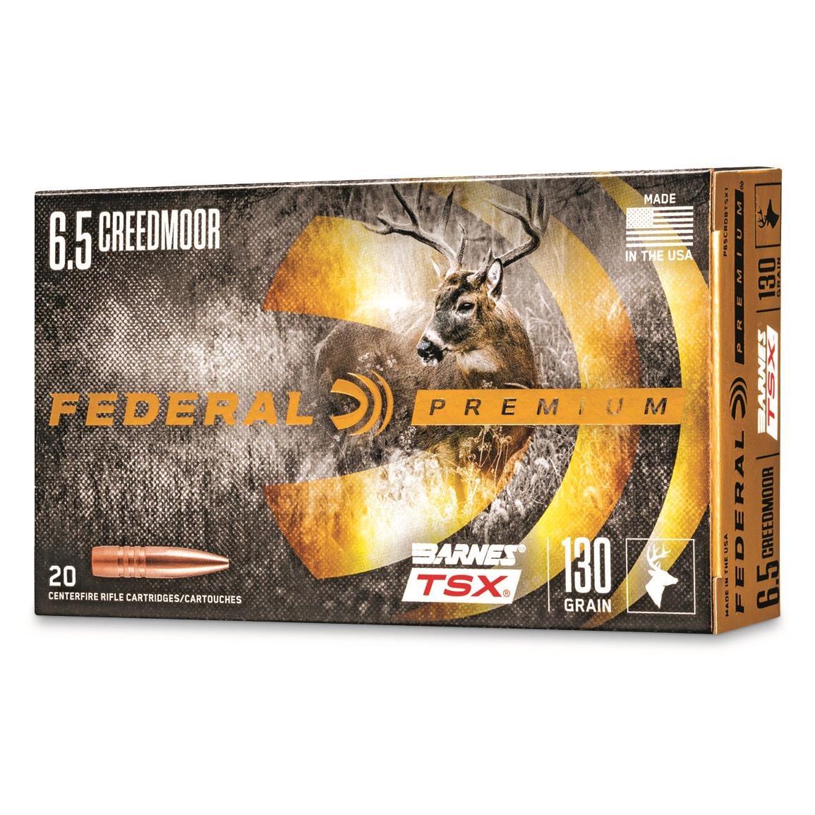Federal Premium Barnes TSX, 6.5mm Creedmoor, Triple-Shock X HP, 130 Grain, 20 Rounds