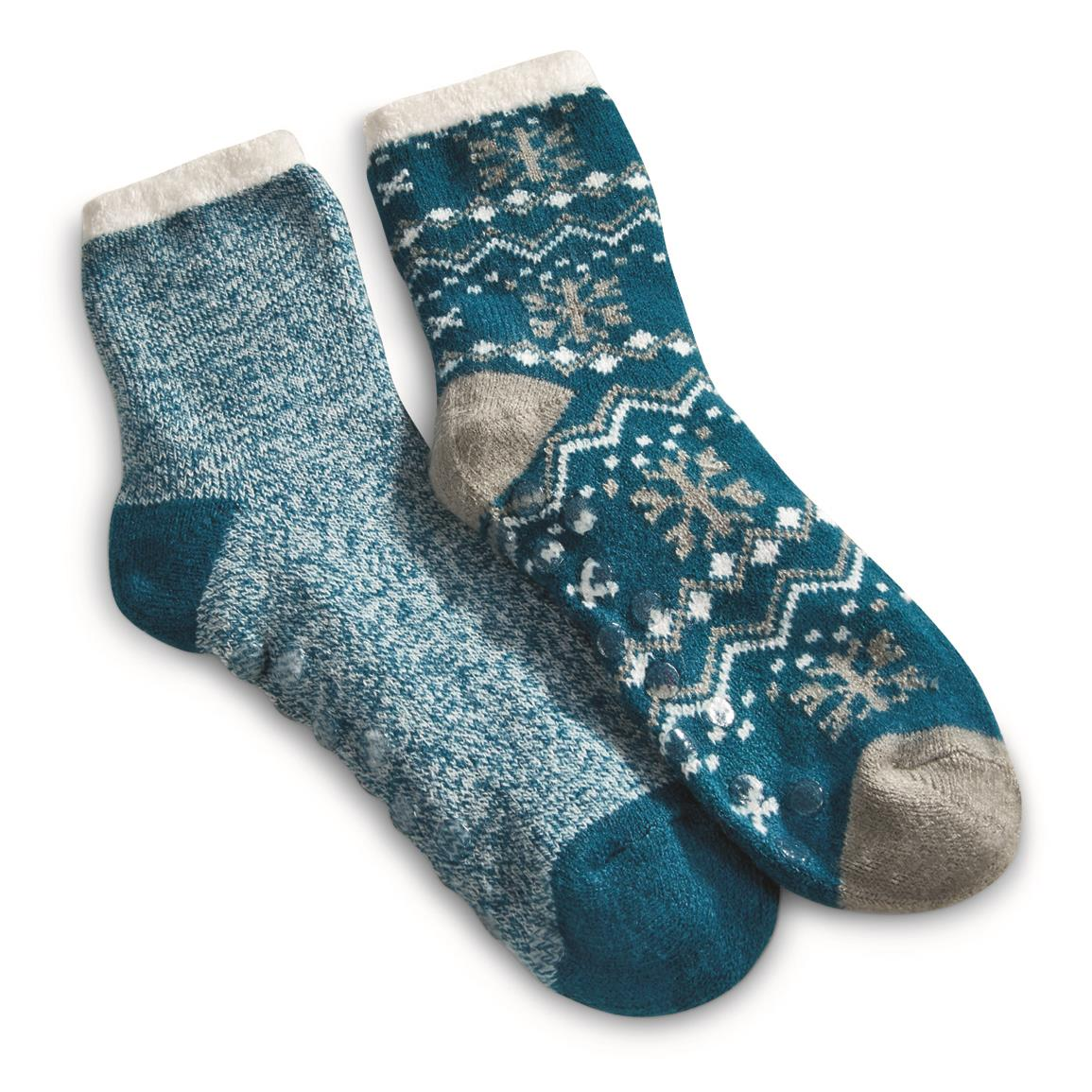 Guide Gear Women's Double-layer Gripper Socks, 2 Pairs, Teal