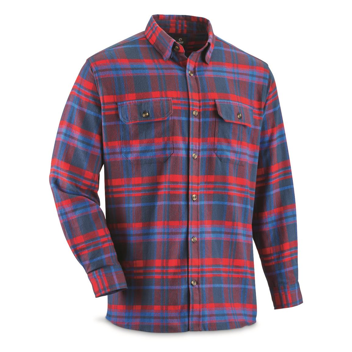 Guide Gear Men's Yarn-dyed Flannel Shirt, Red/Blue Plaid