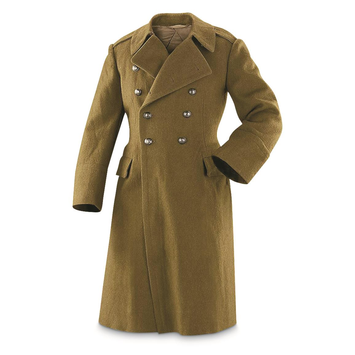Romanian Military Surplus Wool Trench Coat, Like New, Olive Drab
