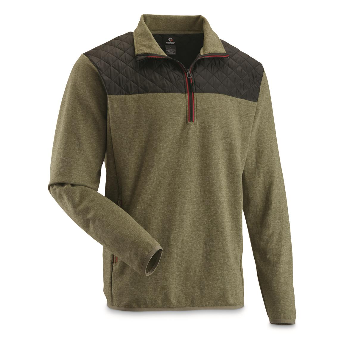 Guide Gear Men's Quilted Quarter-zip Pullover., Ivy Green