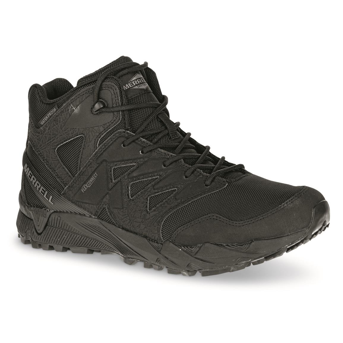 Merrell Men's Agility Peak Mid Waterproof Tactical Boots, Black
