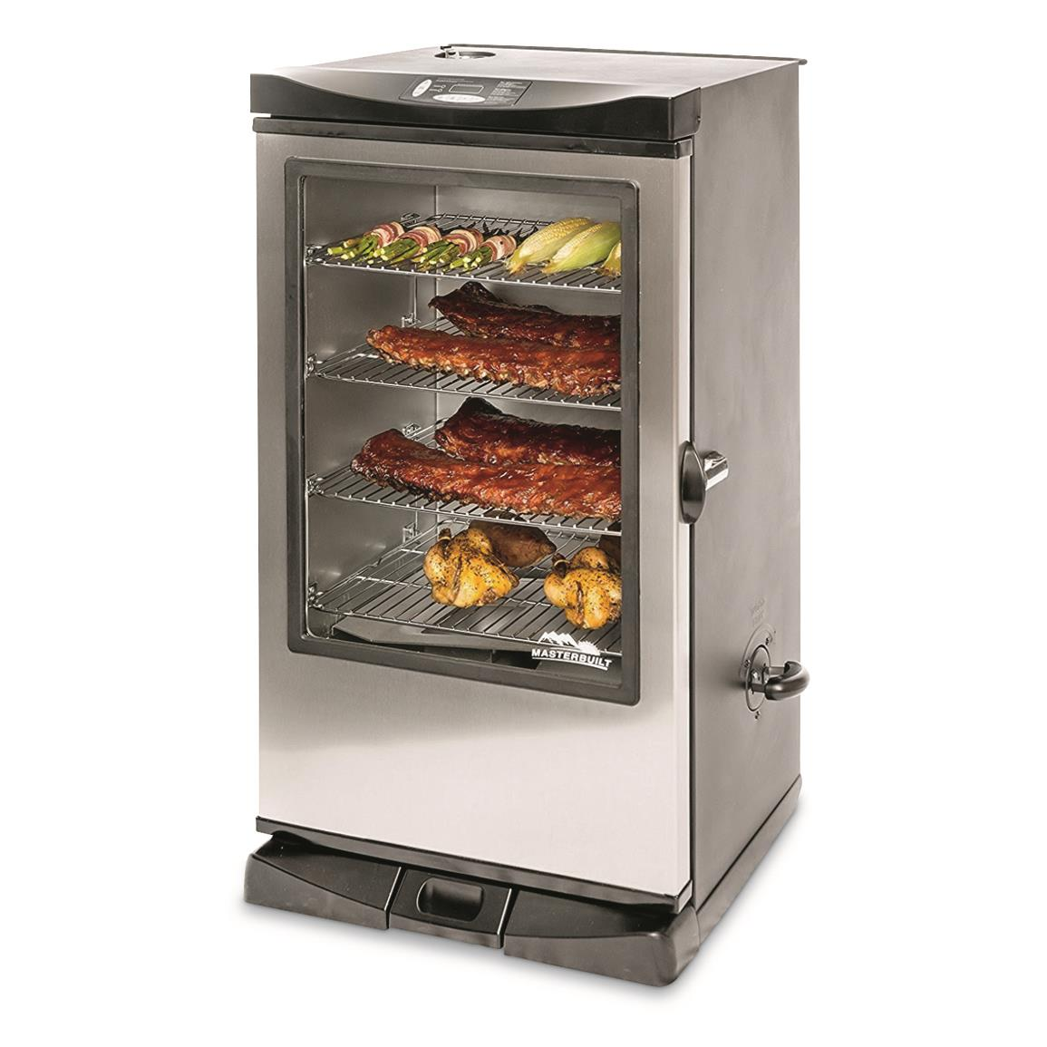 "Masterbuilt 40"" Electric Smoker with Remote and Window, Stainless Steel"
