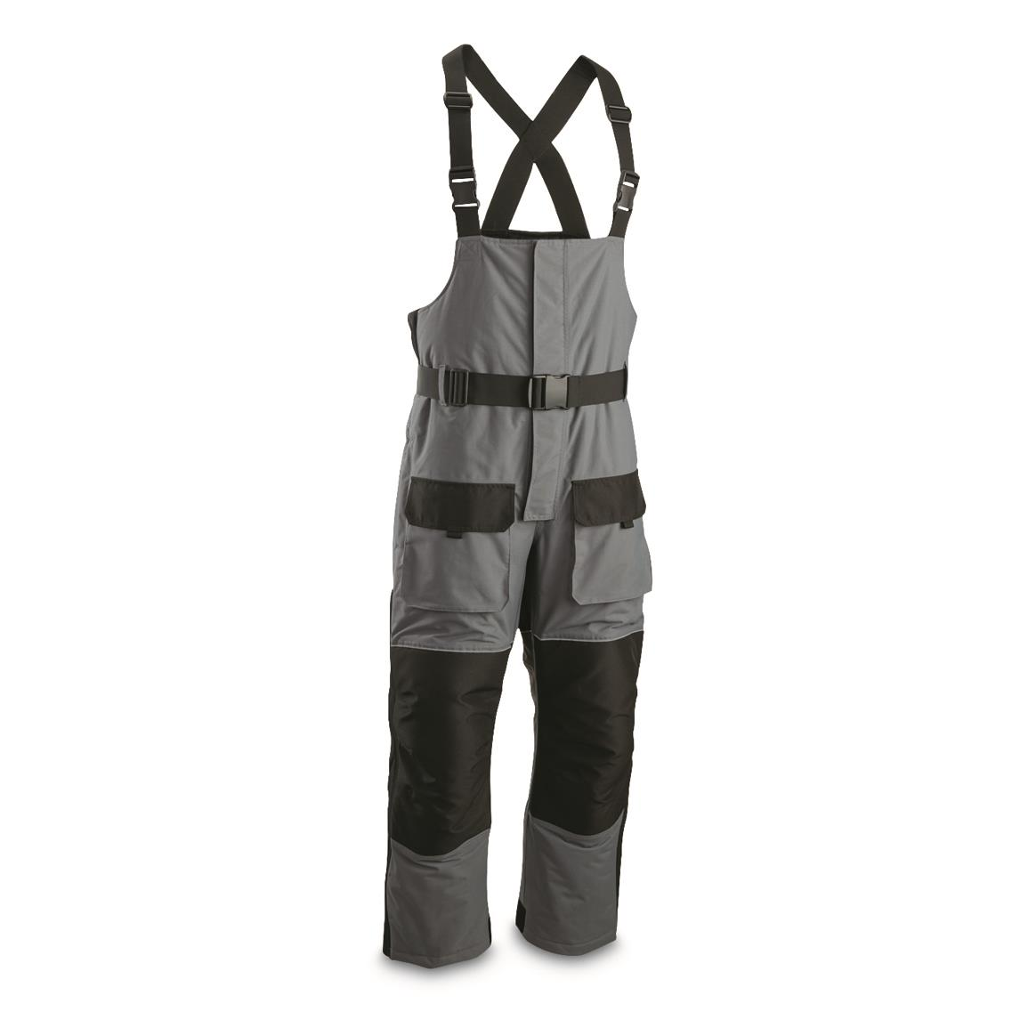 Guide Gear Men's Barrier Ice Waterproof Insulated Bib Overalls, Black/gray