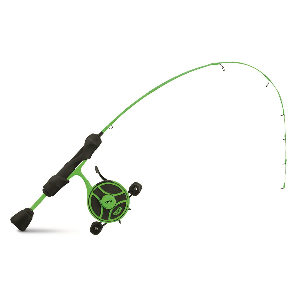 13 Fishing Black Betty FreeFall Ghost Radioactive Pickle Ice Fishing Combo, Left Handed, 27""