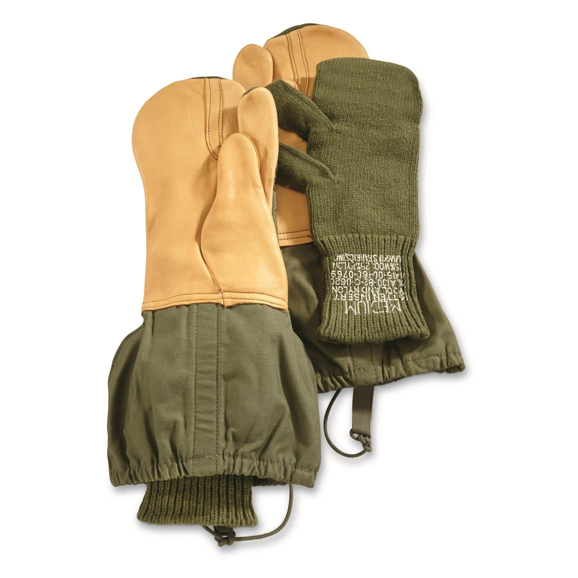 U.S. Military Surplus M65 Trigger Finger Mitts with Liners, New