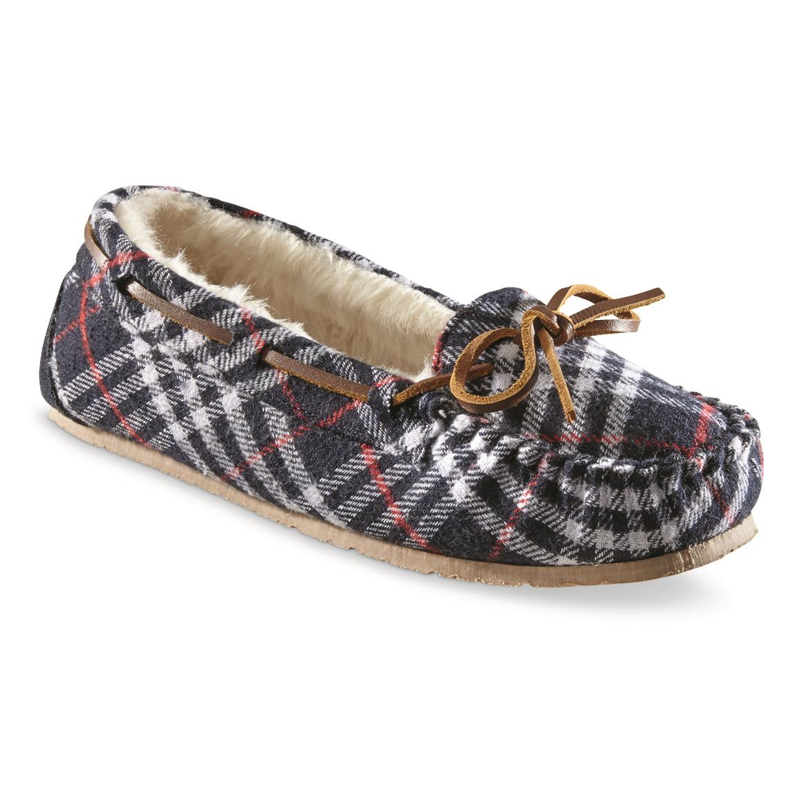Guide Gear Women's Moccasin Slippers, Navy/white/red Plaid