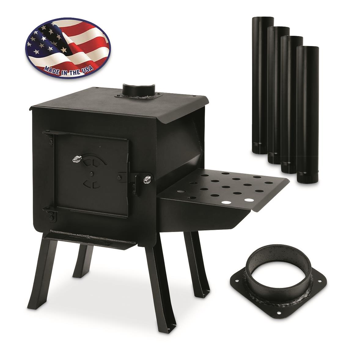 Complete Kit includes Stove, pipe collar, 8' pipe kit, and attachable shelf