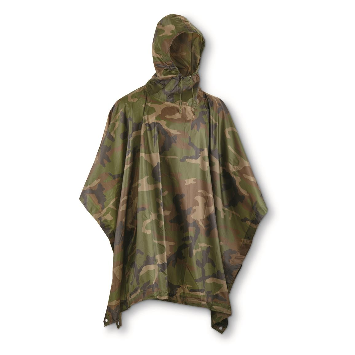 Angolan Military Surplus Heavyweight Poncho with Carry Bag, New