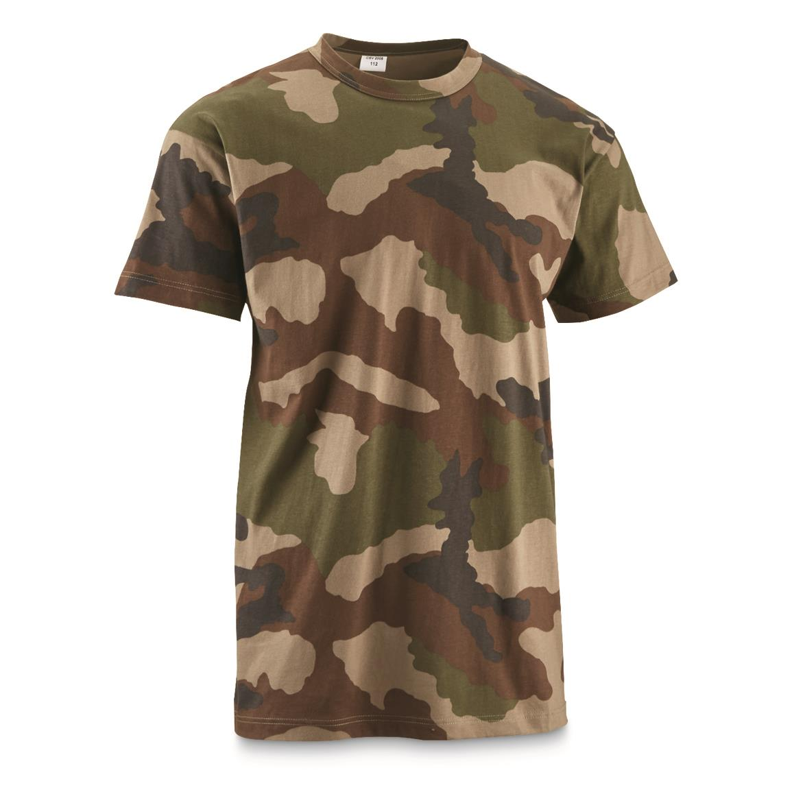 French Military Surplus CCE Woodland Camo T-shirt, New, Woodland