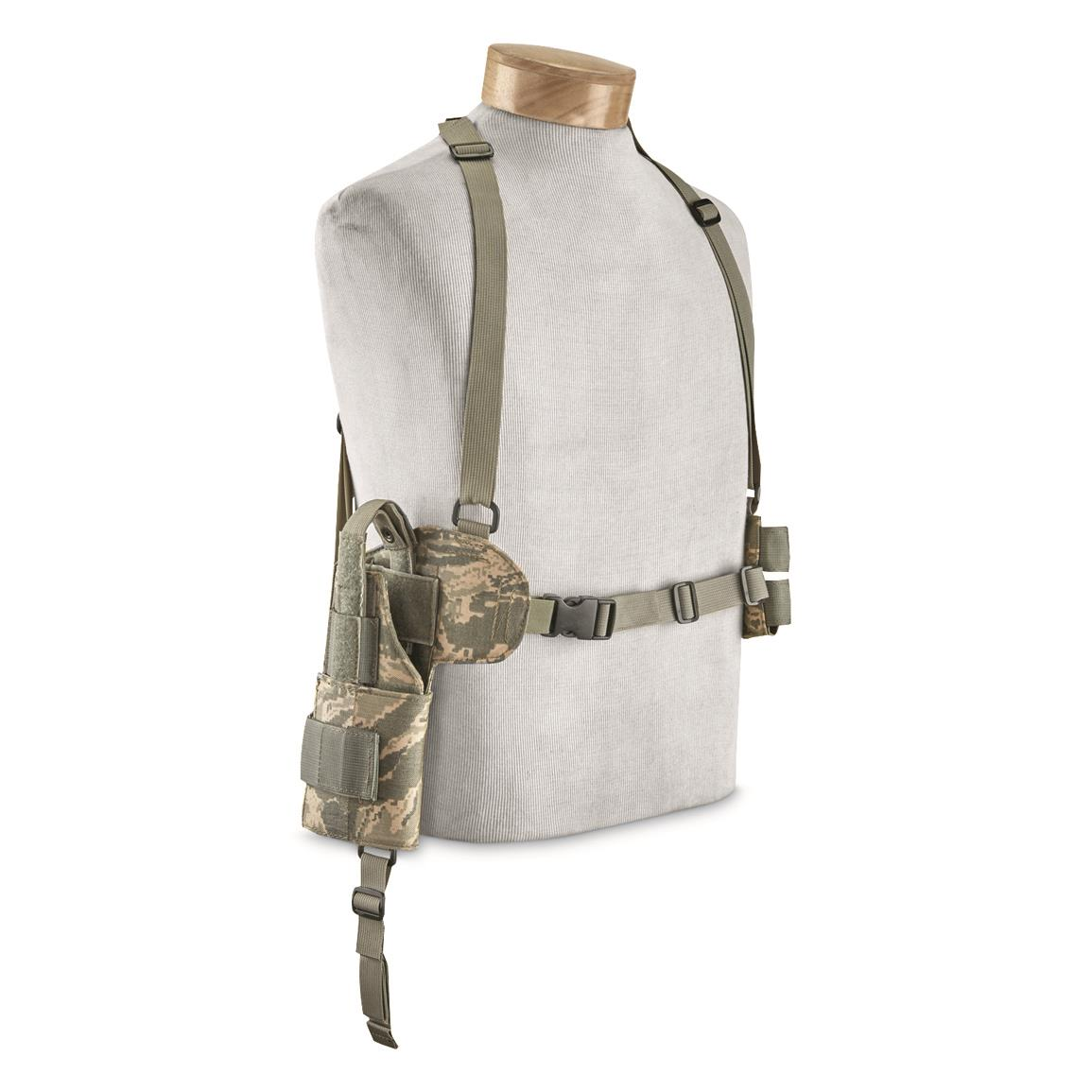 U.S. Military Surplus BDS Tactical Horizontal Shoulder Holster and Mag Pouch, New, ABU Camo