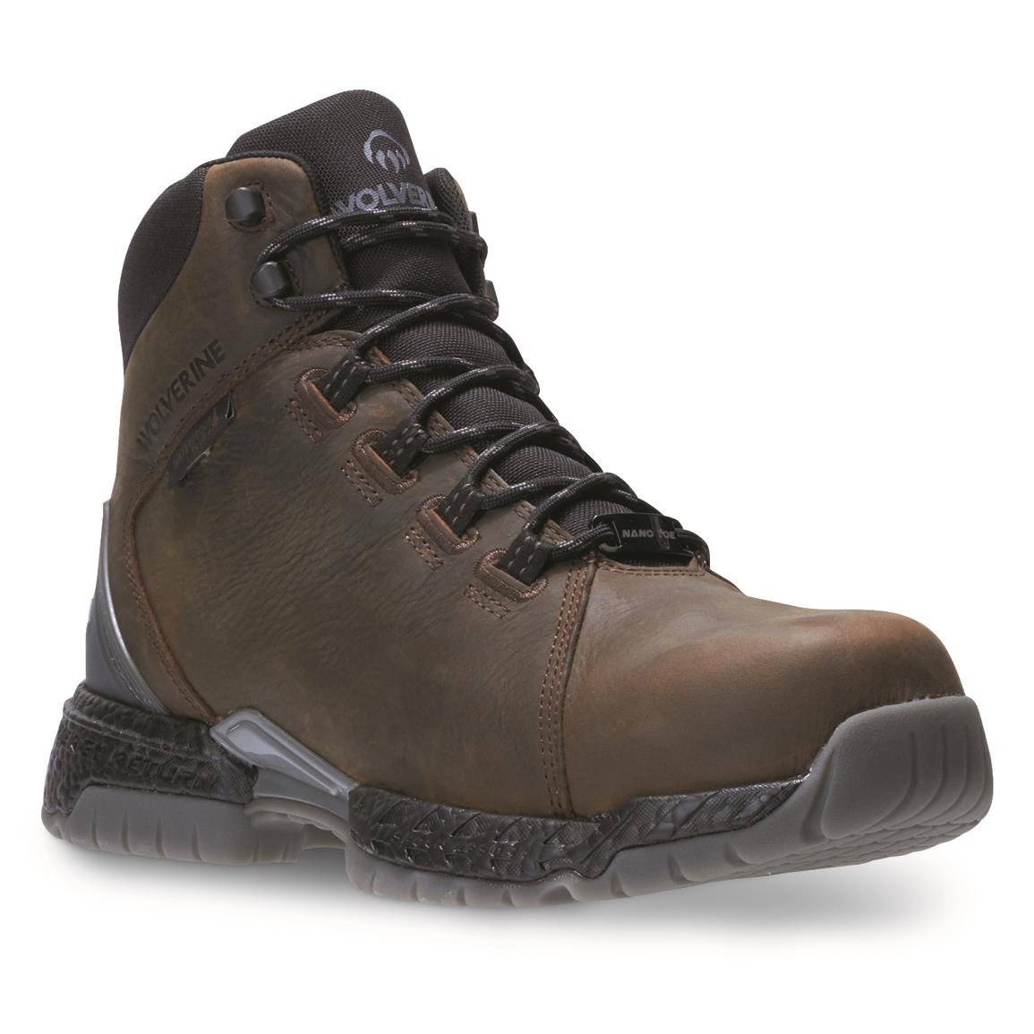 Wolverine Men's I-90 Rush Waterproof Work Boots, Dark Coffee