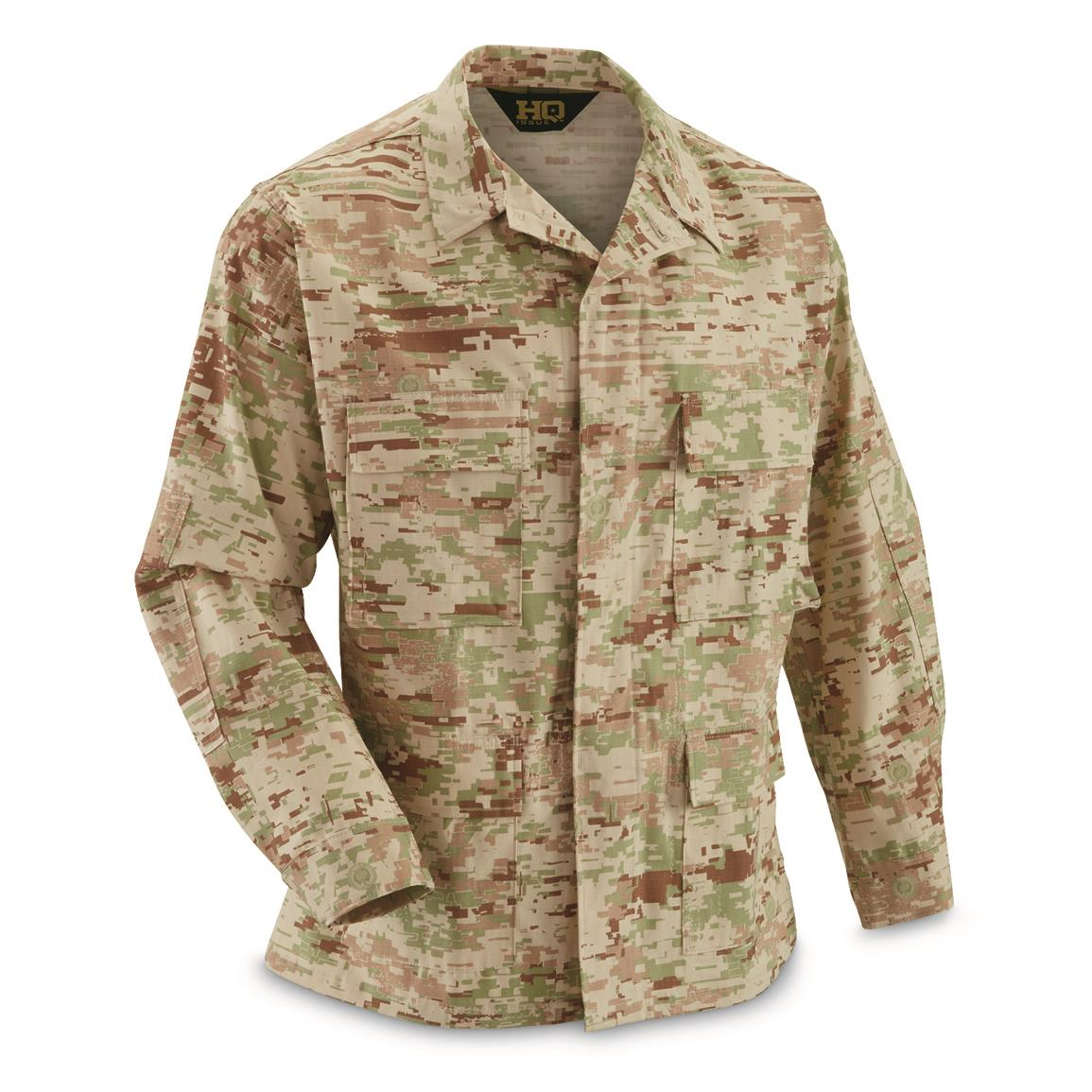 HQ ISSUE Military-style Cotton Ripstop BDU Jacket, Royal Guard Camo