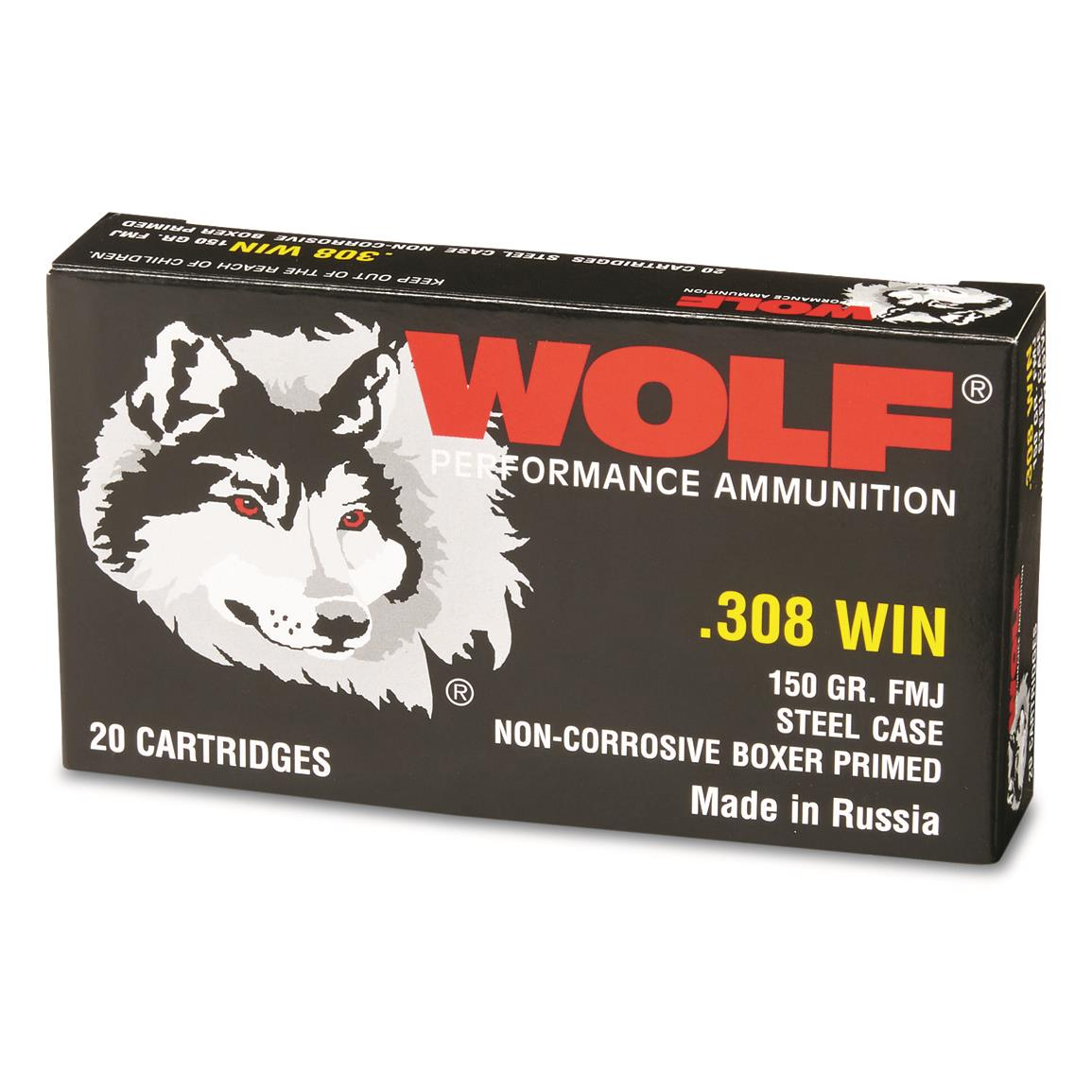 Wolf, .308 Winchester, FMJ, 150 Grain, 20 Rounds