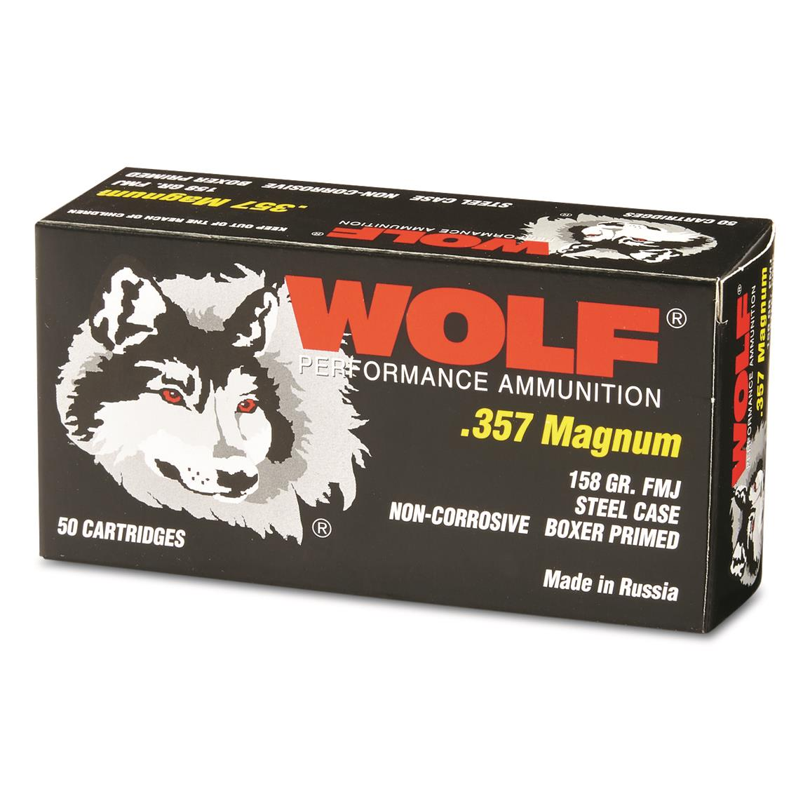 Wolf, .357 Magnum, FMJ, 158 Grain, 500 Rounds