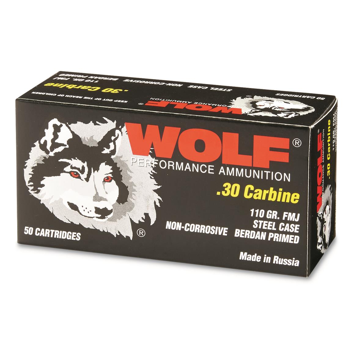 Wolf, .30 Carbine, FMJ, 110 Grain, 500 Rounds