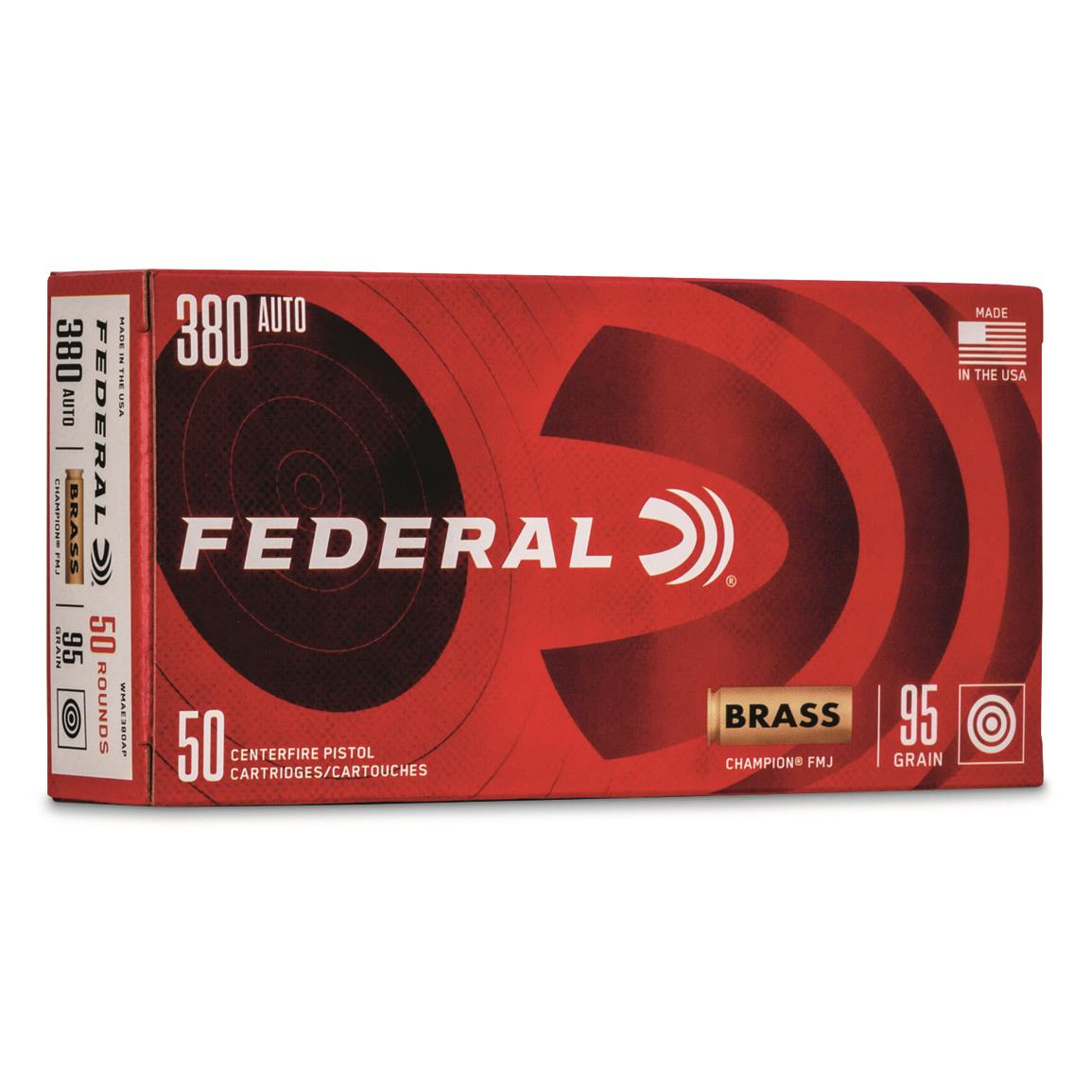 Federal Champion Training, .380 ACP, FMJ, 95 Grain, 50 Rounds