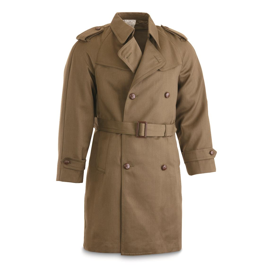 Spanish Military Surplus Wool Blend Trench Coat, Like New