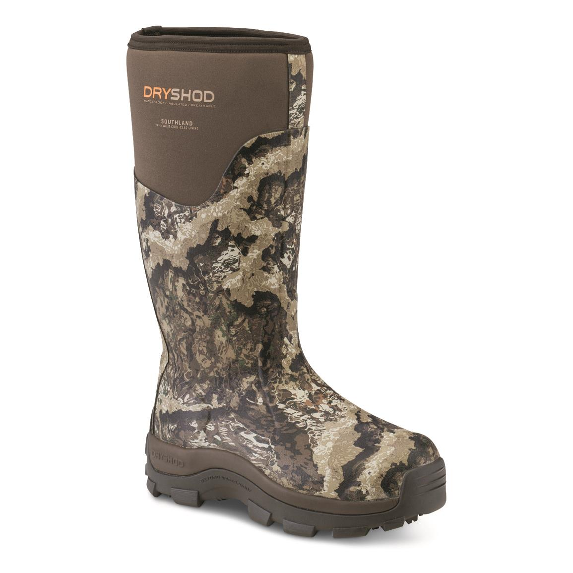 Dryshod Men's Southland Cool Rubber Hunting Boots, Veil Whitetail/khaki