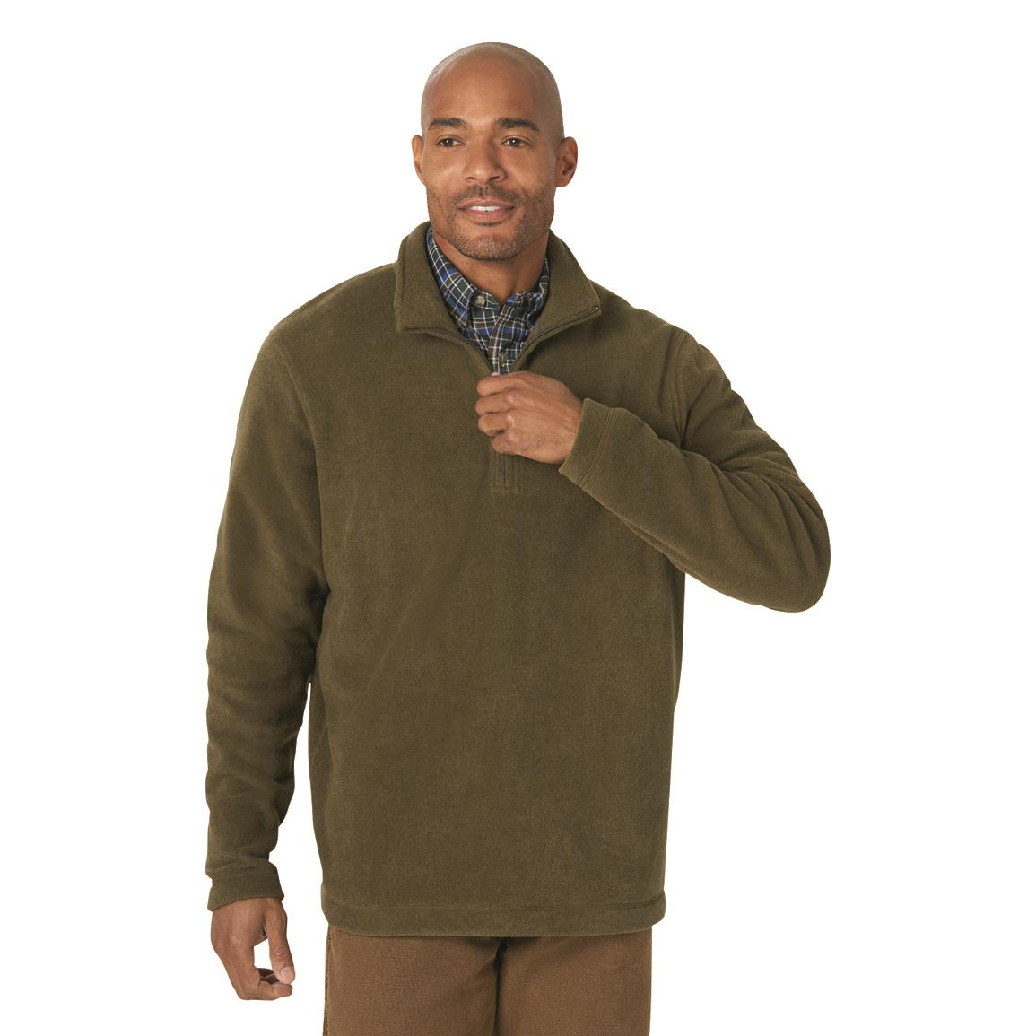 Wrangler Men's Quarter-zip Fleece Pullover Sweater, Olive Green