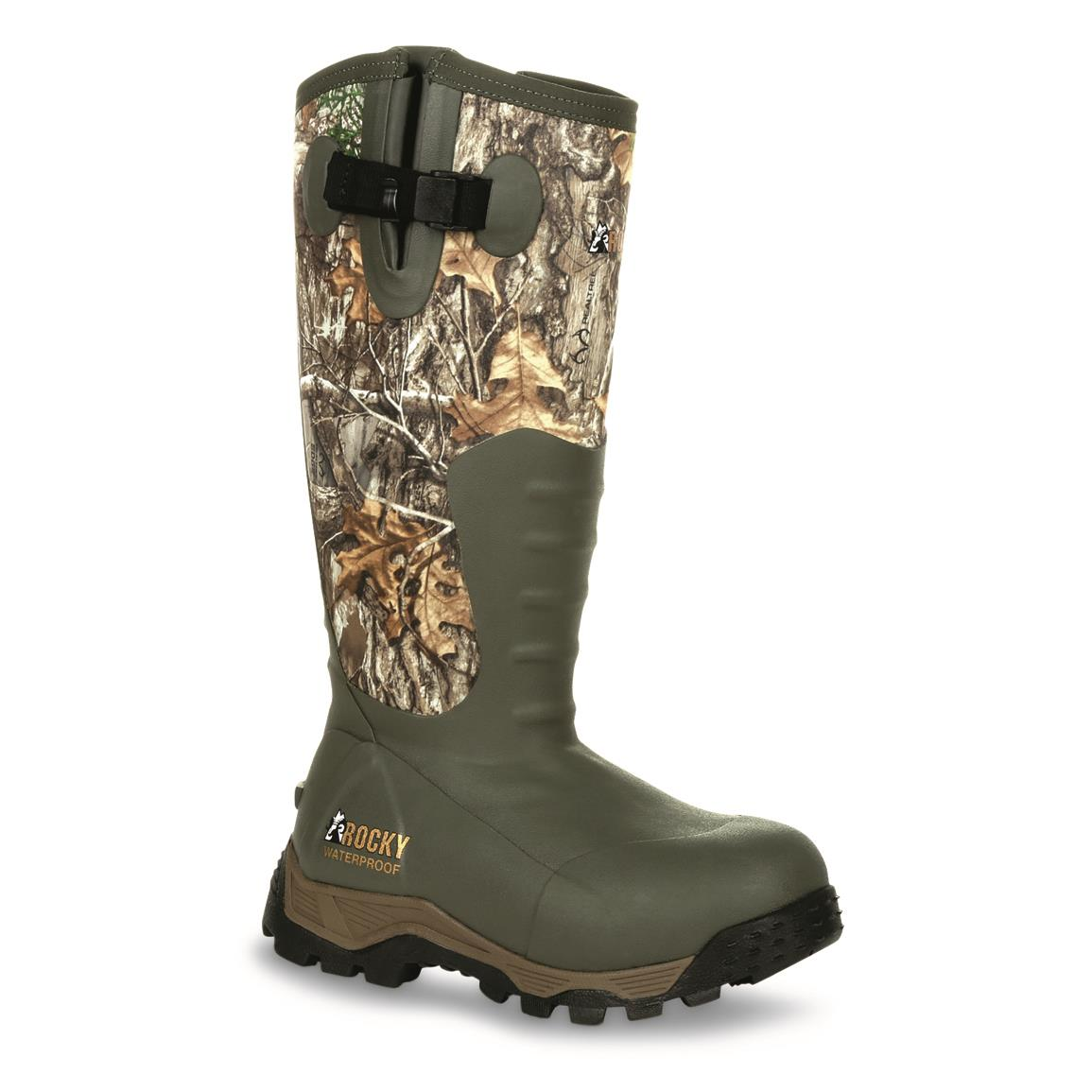 "Rocky Women's Sport Pro 16"" Waterproof Insulated Side Zip Rubber Hunting Boots, 1200 Gram, Realtree EDGE™"