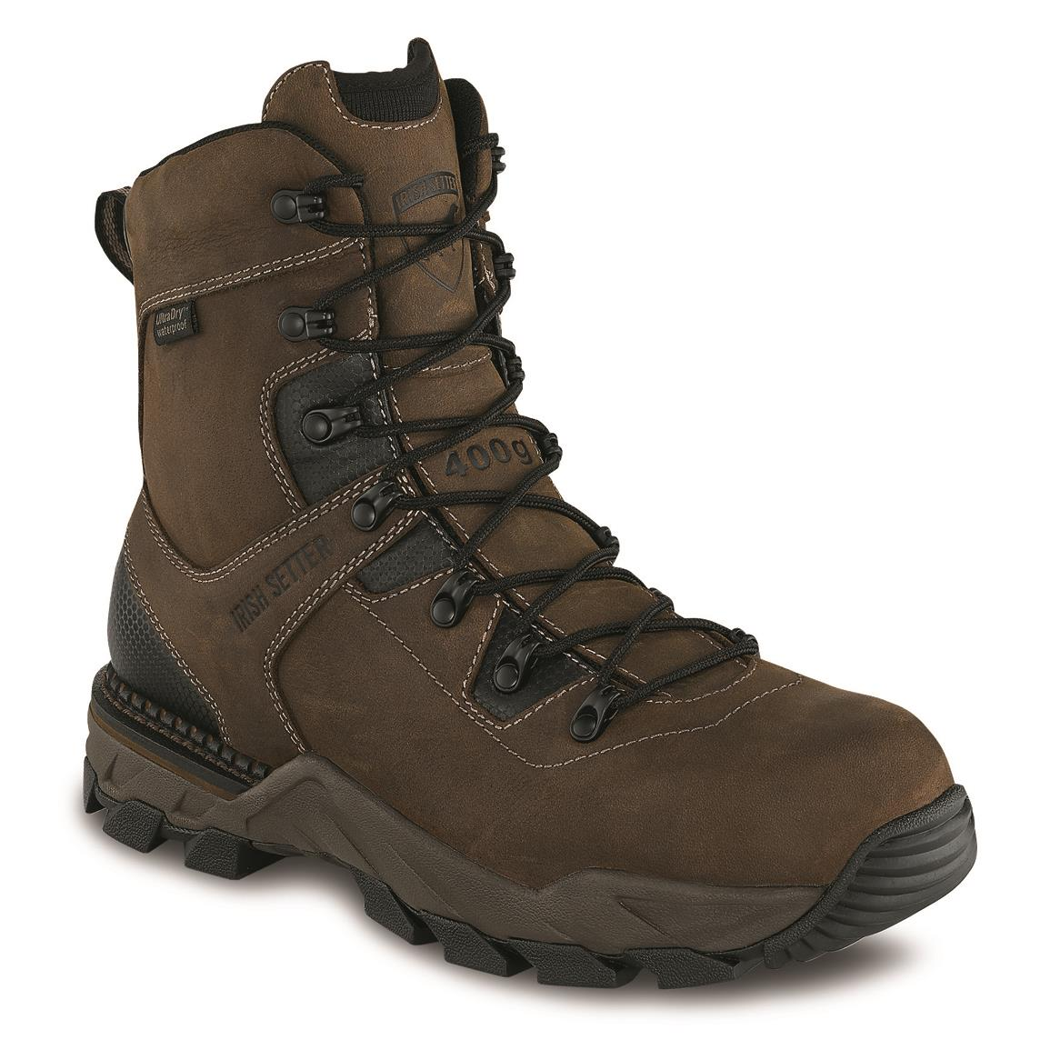 "Irish Setter Men's Crosby 8"" Waterproof Insulated Safety Toe Work Boots, 400 Gram, Brown"