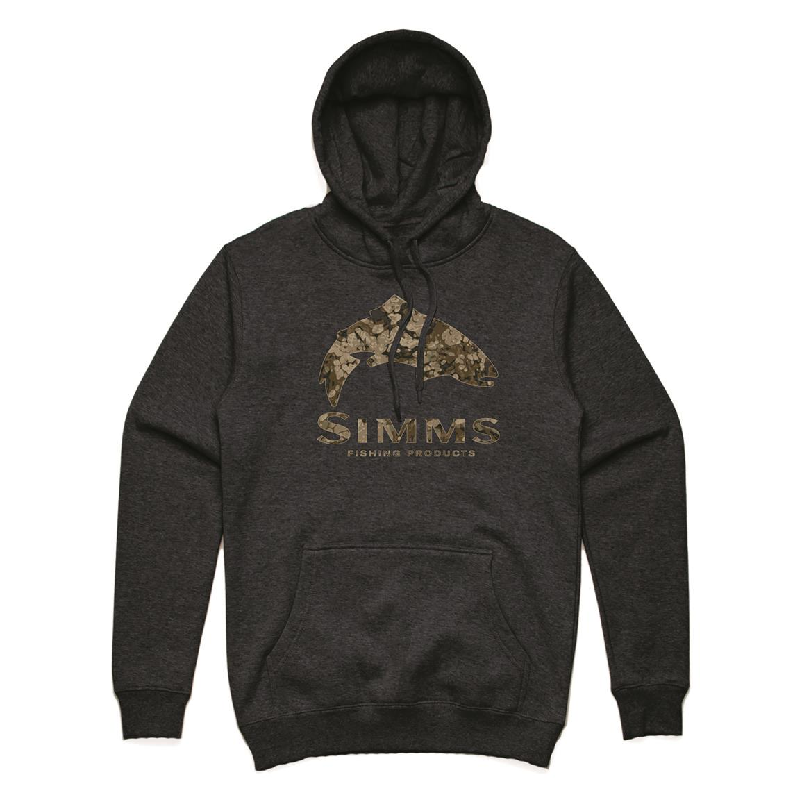 Simms Men's Logo Fish Hoodie, Charcoal Heather