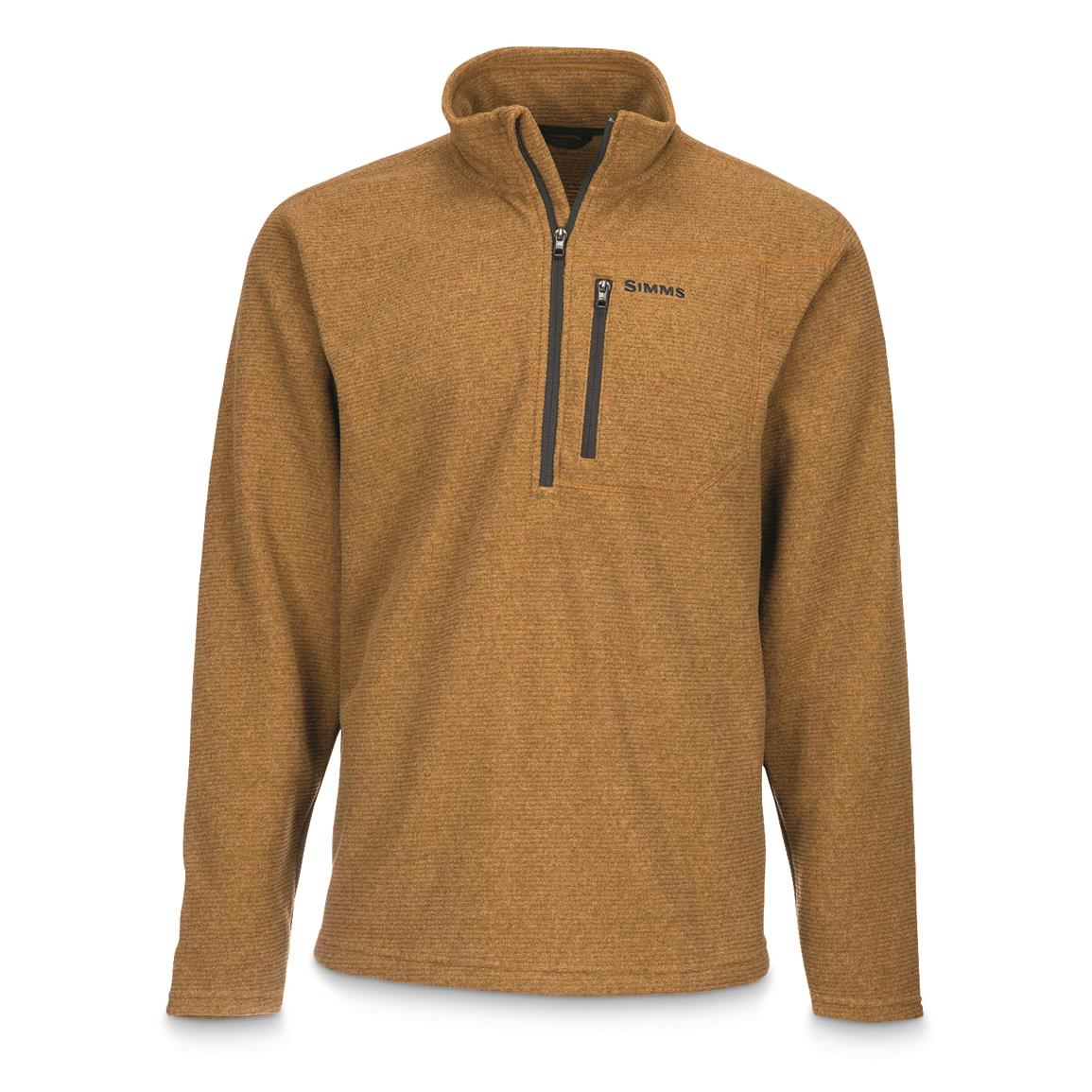 Simms Men's Rivershed Quarter-zip Fleece Sweater, Dark Bronze