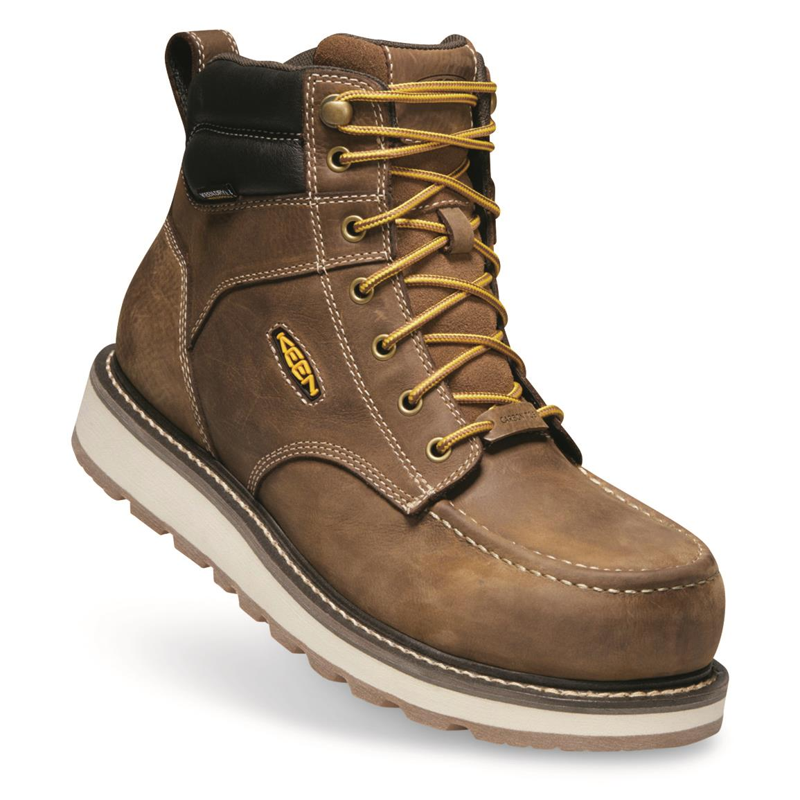 KEEN Utility Men's Cincinnati Waterproof Composite Toe Work Boots, Belgian/sands Hell