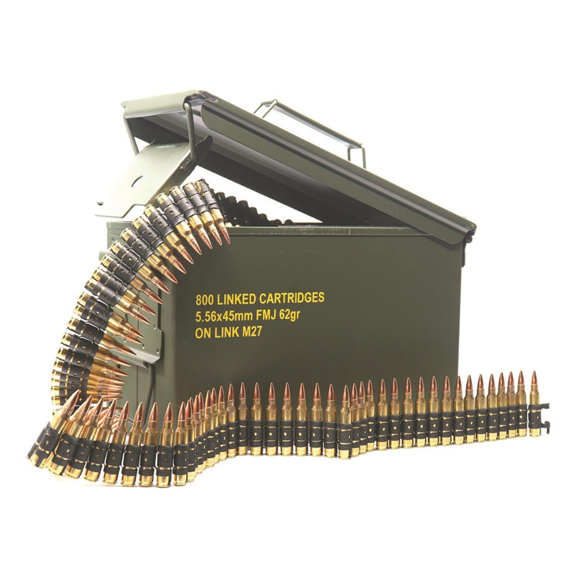 Magtech M27 Linked Ammo, 5.56x45mm, FMJ, 62 Grain, 800 Linked Rounds in Ammo Can