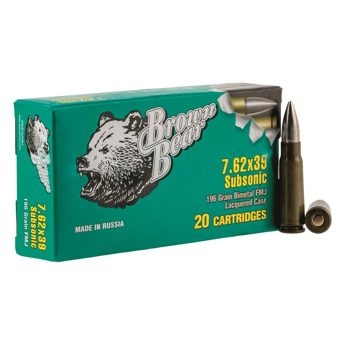 Brown Bear Steel Case Subsonic, 7.62x39mm, FMJ, 196 Grain, 20 Rounds