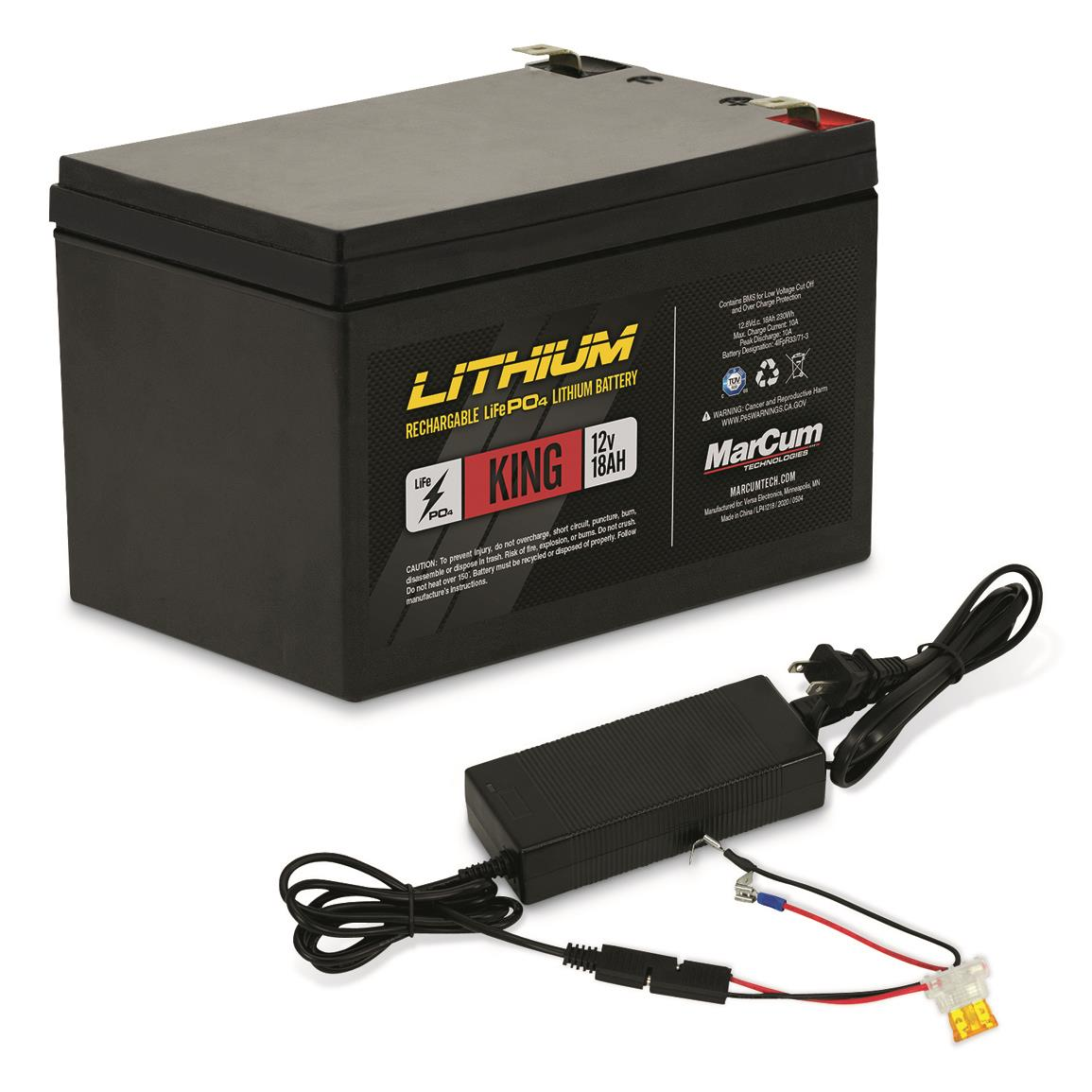 MarCum King 12V 18A LiFePO4 Battery with 6A Charger