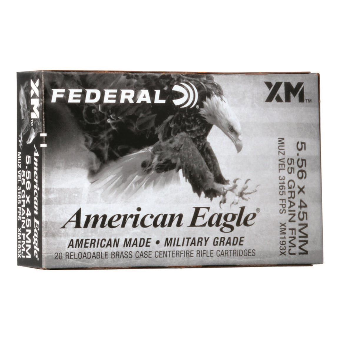 Federal American Eagle XM193, 5.56x45mm NATO, FMJBT, 55 Grain, 20 Rounds