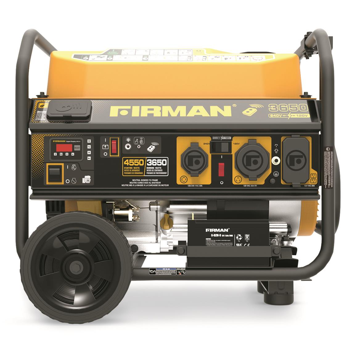 FIRMAN 4550 Watt Portable Gas Generator with Remote Start and Wheel Kit