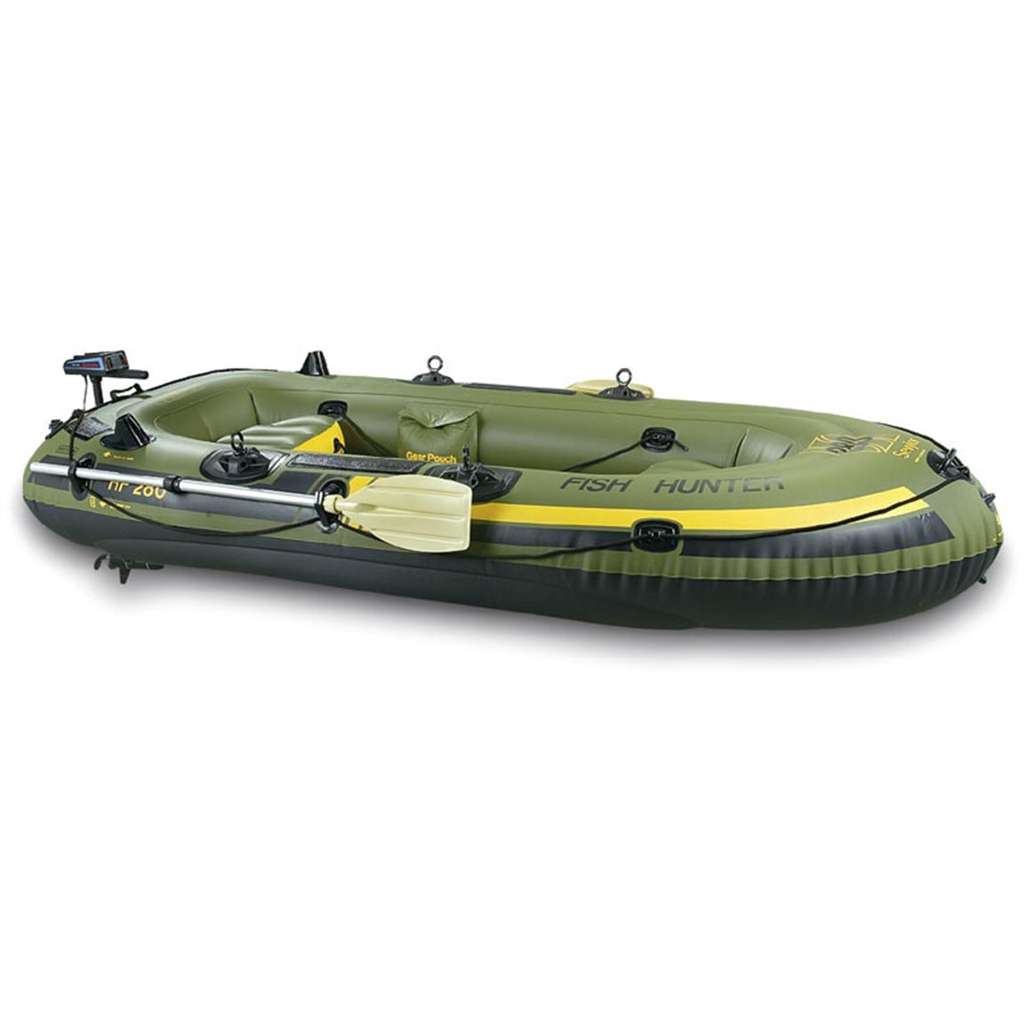 Sevylor fishing hunting inflatable boat package with for Rubber boats for fishing