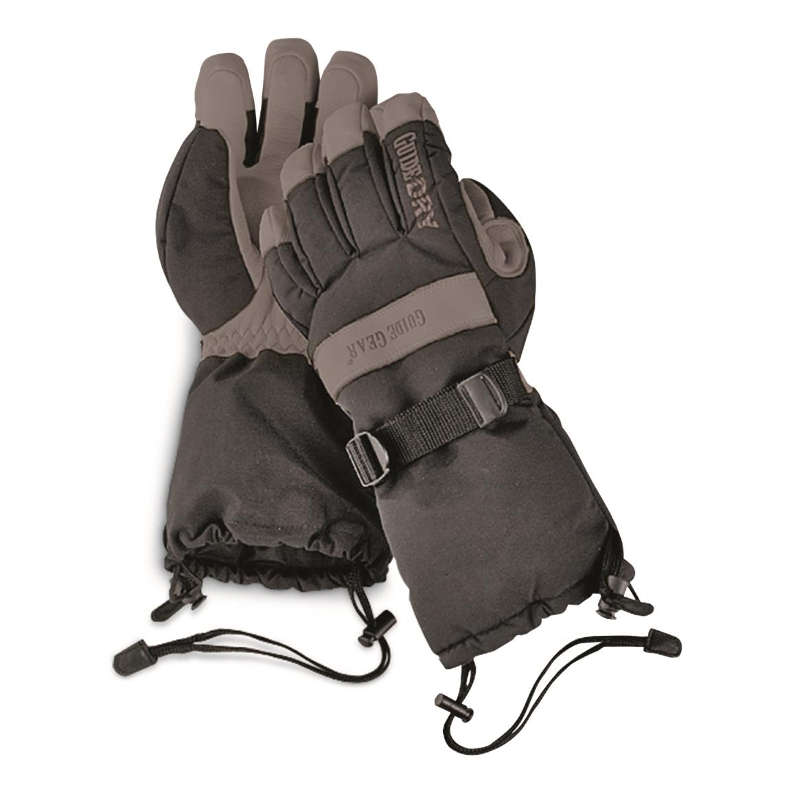 Guide Gear Men's Insulated Guide Dry Snowmobile Gloves, Black w/Black Palm