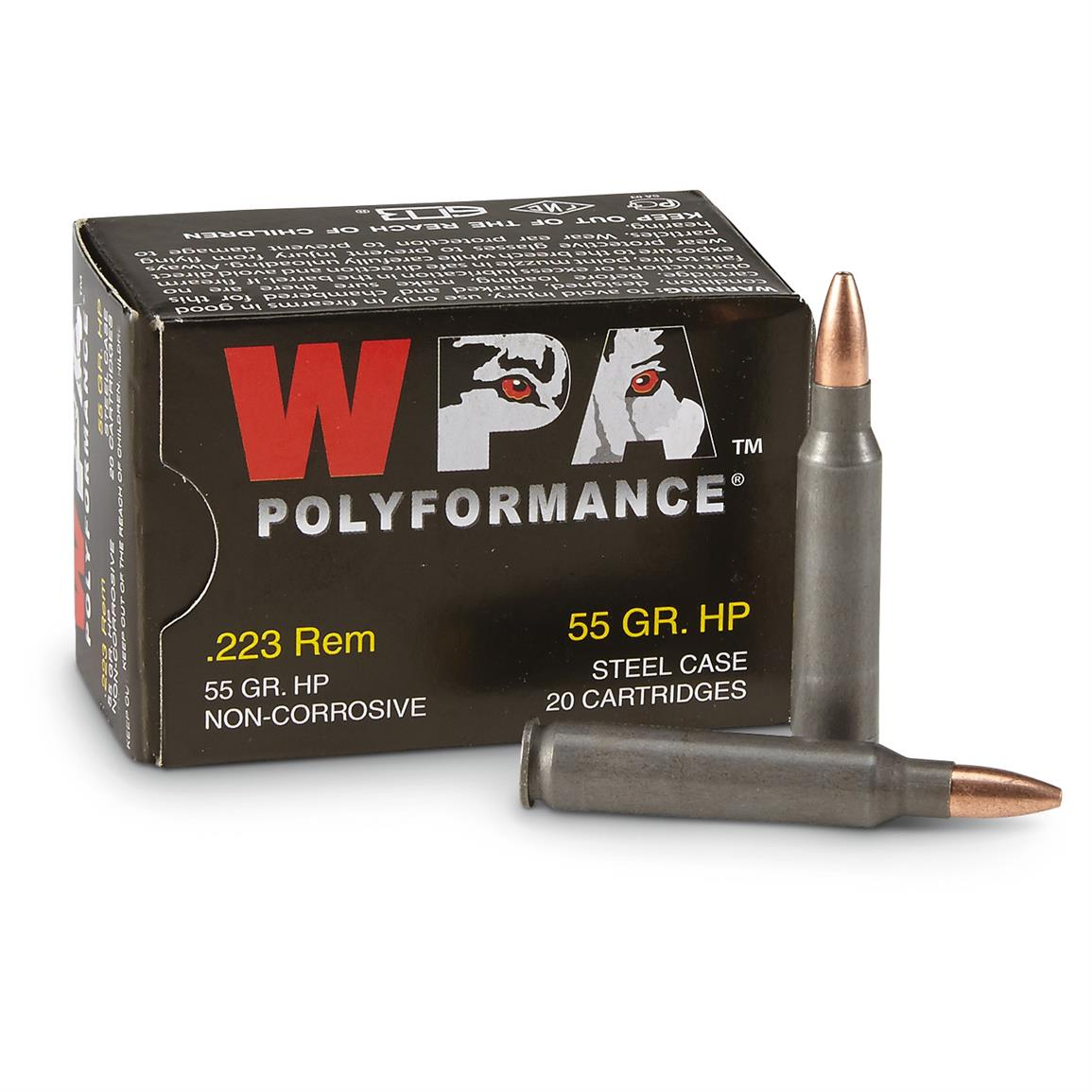 Wolf WPA Polyformance, .223 Remington, HP, 55 Grain, 240 Rounds