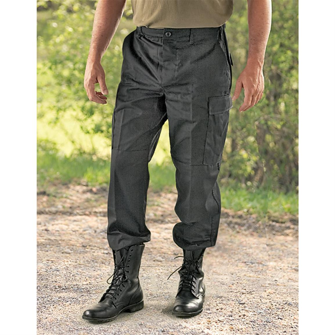 Cotton Rip-Stop or Cotton / Polyester Twill Pants in Black