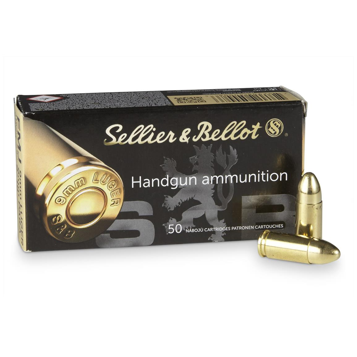 Sellier & Bellot, 9mm Luger, FMJ, 115 Grain, 50 Rounds